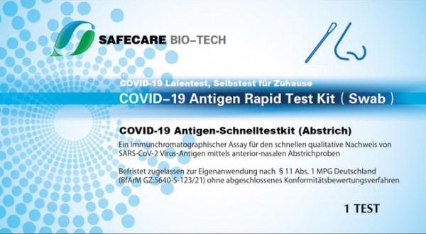 SAFECARE BIO-TECH - COVID-19 Antigen-Schnelltestkit (Abstrich) mit Laienzulassung – einzelverpackt